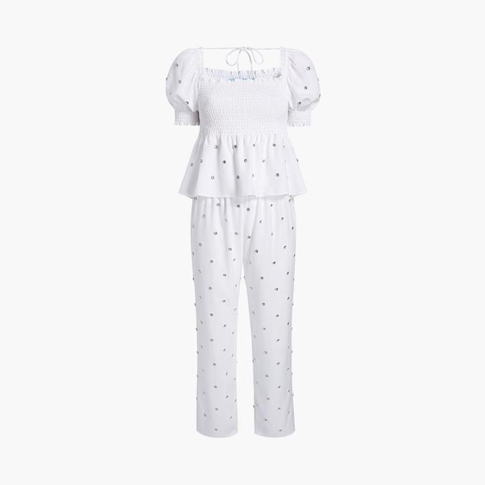 """The Jewel Jammie Top, $96 at [Hill House Home](https://fave.co/3b8DhNK target=""""_blank"""" rel=""""nofollow"""")."""