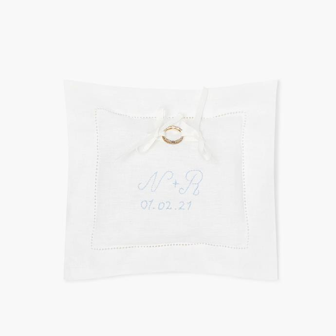 """The Ring Pillow, $64 at [Hill House Home](https://fave.co/3nW7XXN target=""""_blank"""" rel=""""nofollow"""")."""