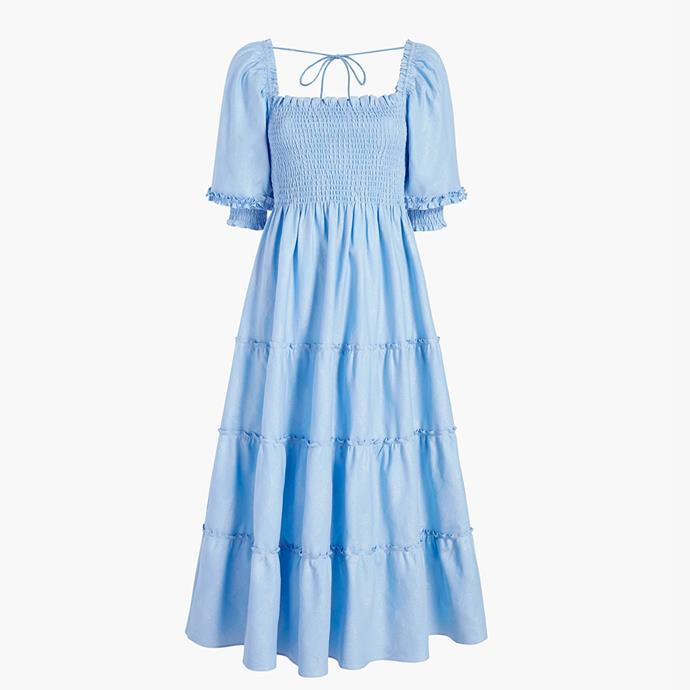 """The Bridal Nap Dress, $160 at [Hill House Home](https://fave.co/3eXNbCZ target=""""_blank"""" rel=""""nofollow"""")."""