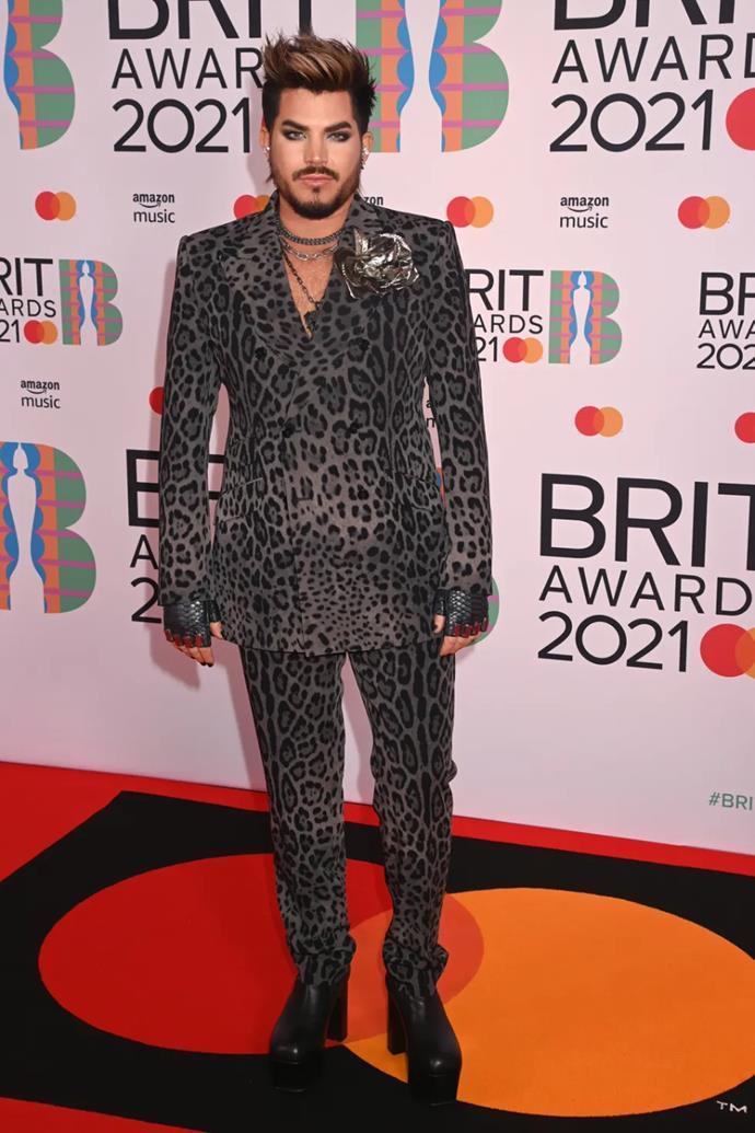 Adam Lambert in a tonal animal print suit.