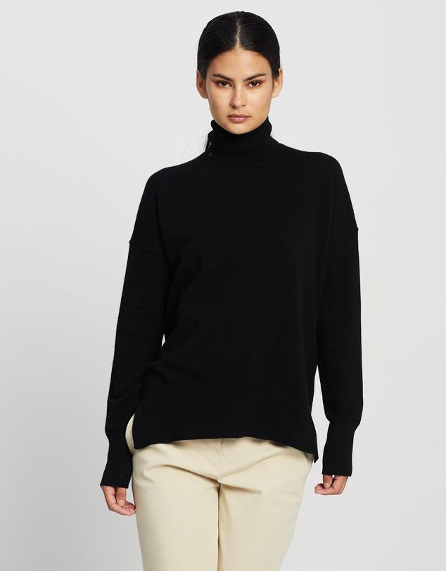 """Theory Karenia Turtleneck Knit, $649; at [The Iconic](https://www.theiconic.com.au/karenia-turtleneck-knit-1159288.html