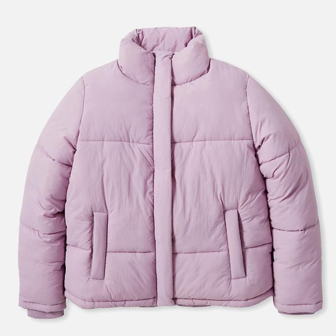 """Cotton On The Recycled Mother Puffer Jacket, $34.99 at [Cotton On](https://fave.co/2UEPlkT target=""""_blank"""" rel=""""nofollow"""")."""