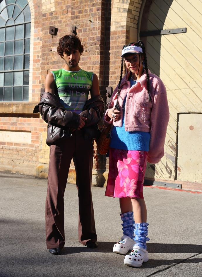 "[Tara Chandra](https://www.instagram.com/tarachandra_/?hl=en|target=""_blank""|rel=""nofollow"") and [Roshan Ramesh](https://www.instagram.com/ramashon/|target=""_blank""|rel=""nofollow""), who is wearing Margiela tabi boots, Uniqlo trousuers, Alix Higgins top and vintage jacket. <br><br> Photography by: [Nikki Chowdhury](https://www.instagram.com/nikkidury/?hl=en|target=""_blank""|rel=""nofollow"")"