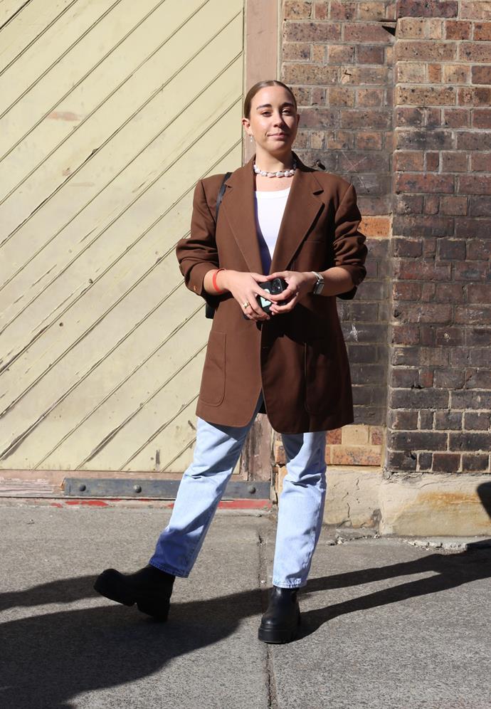 "[Grace Back](https://www.instagram.com/graceback/|target=""_blank""|rel=""nofollow"") wearing vintage blazer, Zara boots, C&M singlet and Levi 501's. <br><br> Photography by: [Nikki Chowdhury](https://www.instagram.com/nikkidury/?hl=en|target=""_blank""|rel=""nofollow"")"