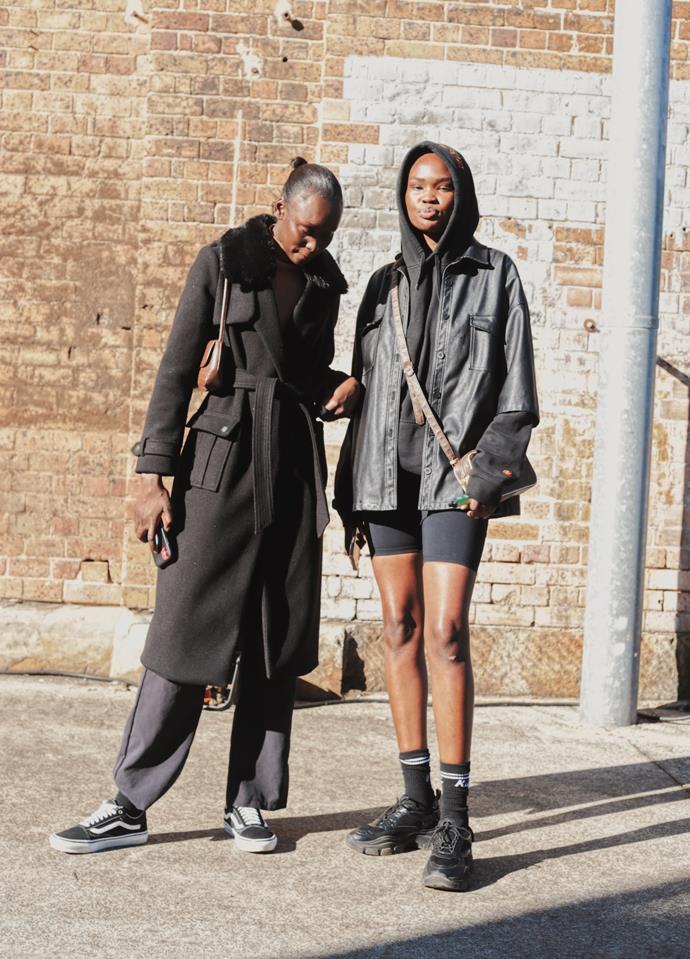 "[Sabah Koj](https://www.instagram.com/iamsabaah/|target=""_blank""|rel=""nofollow"") wearing River Island jacket, Vans shoes, PLT pants, Glassons bag; [Adual Akol](https://www.instagram.com/unpublishedartist/|target=""_blank""|rel=""nofollow"") wearing Zara jacket and Louis Vuitton bag. <br><br> Photography by: [Nikki Chowdhury](https://www.instagram.com/nikkidury/?hl=en|target=""_blank""|rel=""nofollow"")"