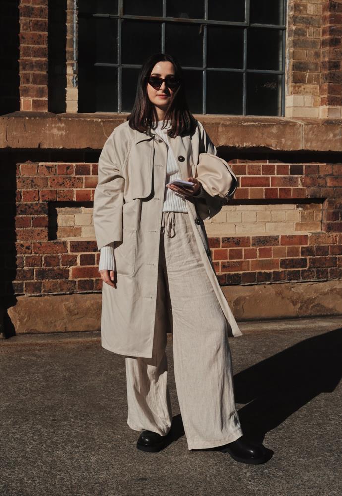 "[Diandra Malivindi](https://www.instagram.com/diandramalivindi/|target=""_blank""|rel=""nofollow"") wearing Monki trench coat, Bec + Bridge top, Glassons trousers, Alias Mae boots and Seed Heritage bag. <br><br> Photography by: [Nikki Chowdhury](https://www.instagram.com/nikkidury/?hl=en|target=""_blank""|rel=""nofollow"")"