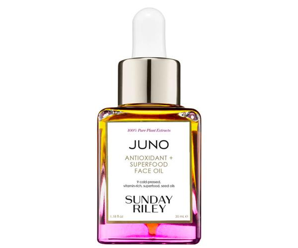 """**The Facial Oil** <br><br> Sunday Riley's JUNO Antioxidant + Superfood Face Oil gives an instant glow to dehydrated skin by restoring and rehydrating the skin's natural moisture barrier, thanks to a blend of organic, cold-pressed, antioxidant-rich, superfood seed oils. It's basically a green juice for your complexion.  <br><br> Sunday Riley JUNO Antioxidant + Superfood Face Oil, $109 at [MECCA](https://fave.co/3w5w89e target=""""_blank"""" rel=""""nofollow"""")."""