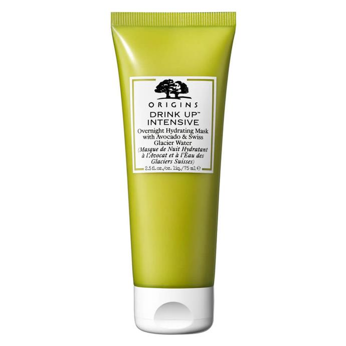 """**The Mask** <br><br> Whether you use it overnight or as a quick 10 minute pick-me-up, Originas Drink Up Overnight Hydrating Mask restores moisture and prevents future dehydration with its ultra-hydrating sleeping mask that softens, smooths and nourishes skin for up to 72 hours. By morning, any dehydration lines will be plumped, and skin will look and feel more supple and hydrated, thanks to its composition of Swiss glacier water, hyaluronic acid and avocado butter.  <br><br> Drink Up Intensive Overnight Hydrating Mask by Origins, $41 at [MECCA](https://fave.co/2RDv5yi target=""""_blank"""" rel=""""nofollow"""")."""
