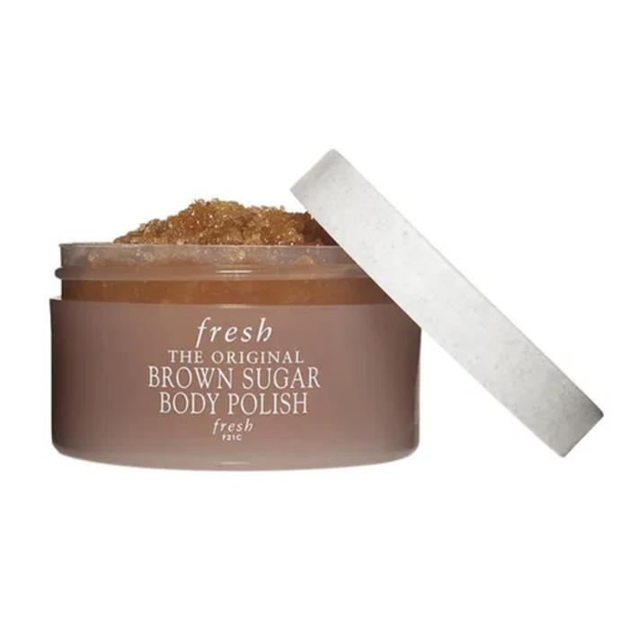 """**The All-Over Scrub**  <br><br> Described as a """"spa-in-a-jar"""", fresh's award-winning The Original Brown Sugar Body Polish is jam-packed with brown sugar crystals—which act as a natural humectant to prevent moisture loss—to gently buffing away dead, dull and dry skin. It also contains ginseng root, citrus oils as well as a blend of evening primrose, sweet almond, apricot kernel, and jojoba oils which help to nourish and moisturise the skin. <br><br> Brown Sugar Body Polish by fresh, $52 at [Sephora](https://fave.co/3g5RttM target=""""_blank"""")."""
