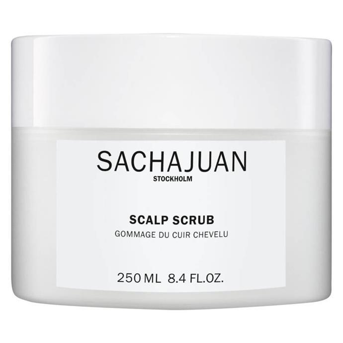 "Scalp Scrub by Sachajuan, $65 at [Adore Beauty](https://fave.co/3vfjOCf target=""_blank"" rel=""nofollow"")."