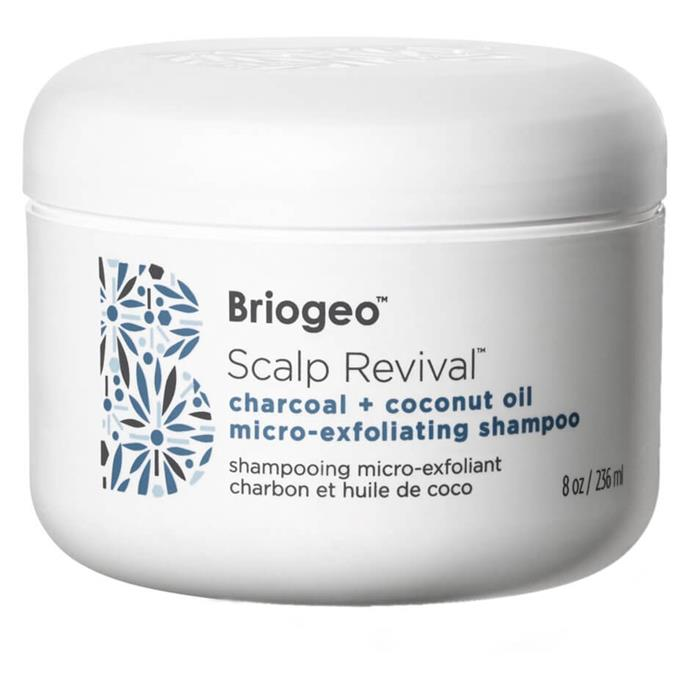 """Scalp Revival Charcoal + Coconut Oil Micro-exfoliating Scalp Scrub Shampoo by Briogeo, $64 at [MECCA](https://fave.co/3gtX0ZW target=""""_blank"""" rel=""""nofollow"""")."""