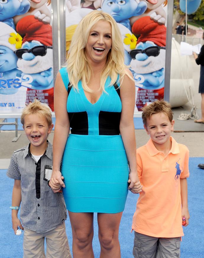 *Britney Spears with her sons, Sean and Jayden Federline.*