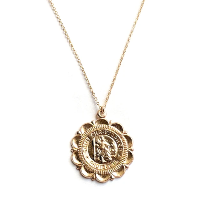 """Rebecca Medallion Necklace, $85 at [S-kin Studio](https://fave.co/3xQp0hx target=""""_blank"""" rel=""""nofollow"""")."""
