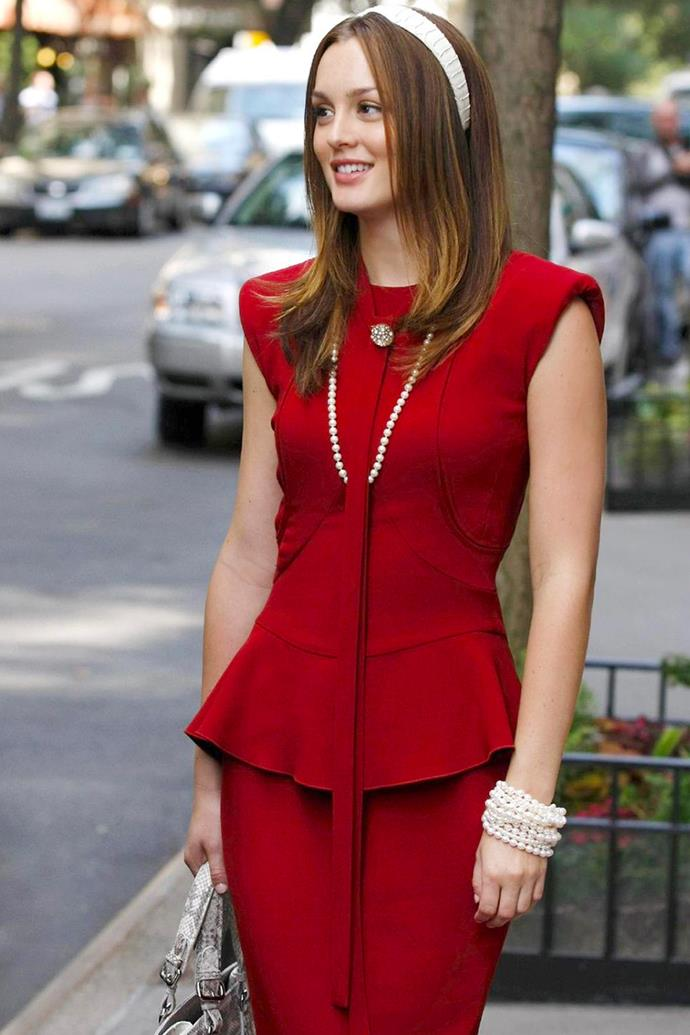 Her shoulder padded red power suit for her first day at NYU.