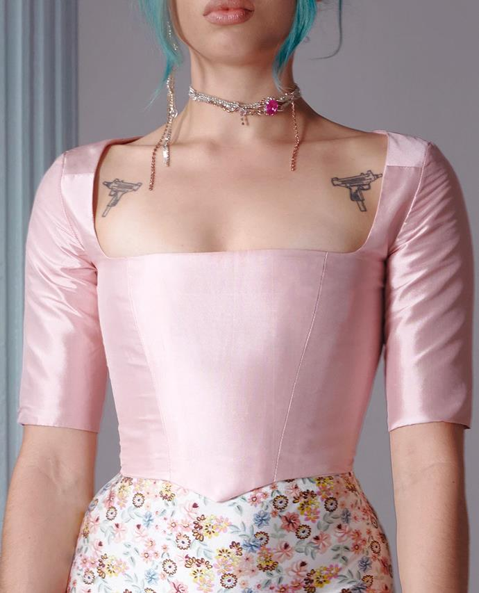 """Courtside Bustier in Ballet Pink, $450 at [All Is A Gentle Spring](https://fave.co/3BjcrOd