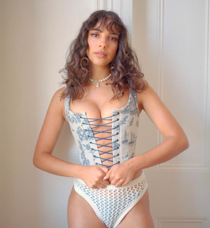 """Countryside Tapestry Corset, $330 at [All Is A Gentle Spring](https://fave.co/3wQuPL8