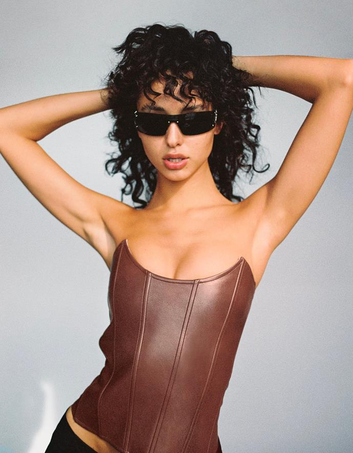 """Leia Corset in Vegan Brown Leather, $265 at [MIAOU](https://fave.co/36N80gG