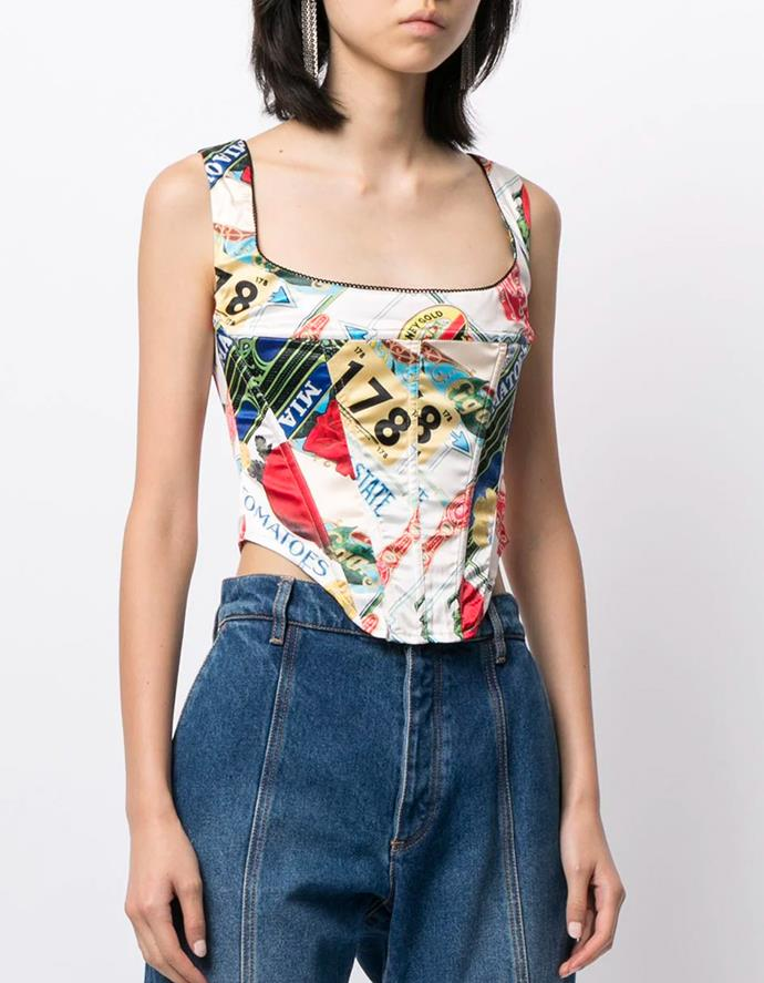 """Campbell Corset in Figaro-print by MIAOU, $327 at [Farfetch](https://fave.co/3rk3gst