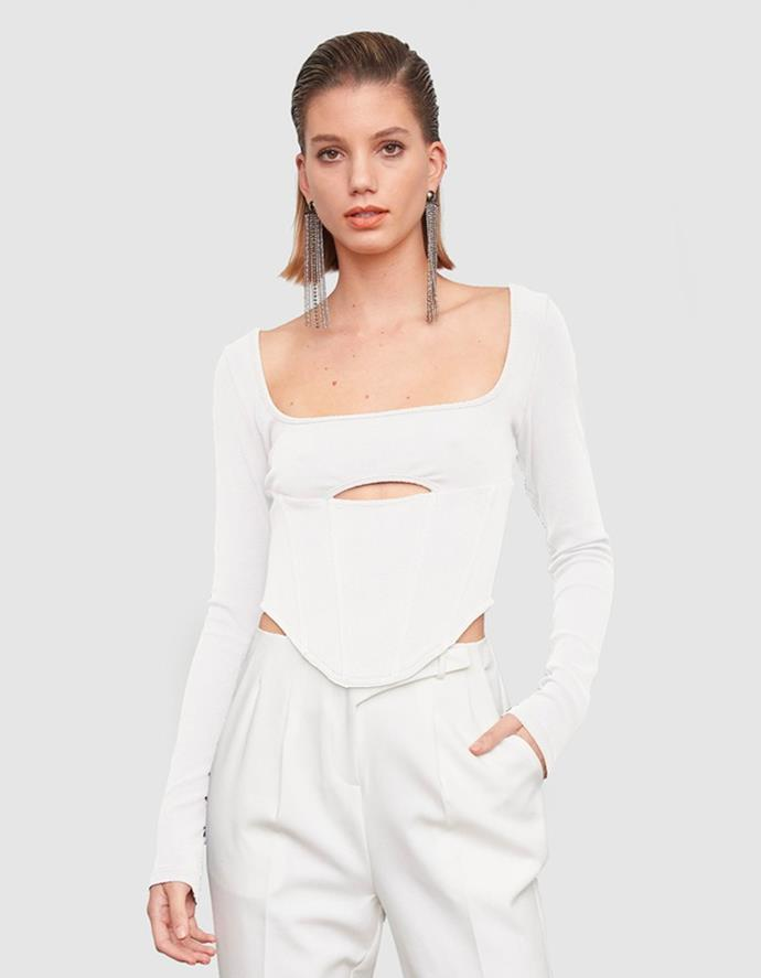 """The Alpha Crop in White by ATOIR, $179.95 at [THE ICONIC](https://fave.co/3ewgCfZ