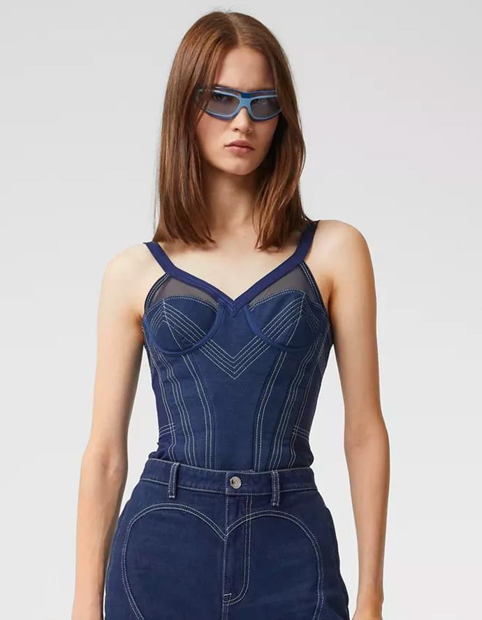 """Topstitched Denim and Mesh Corset Top, $1690 at [Burberry](https://fave.co/2UWhGmu