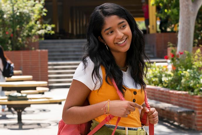 **Maitreyi Ramakrishnan as Devi Vishwakumar** <br><br> An awkward Indian-American teenager, who lives in Los Angeles, Devi began the show looking to up her social status and start a relationship after losing her father. However, what occured was an awful first year of high school. This season, Devi know must choose between two love interests—Paxton Hall-Yoshida and Ben Gross. <br><br> Funnily enough, *Never Have I Ever* was Maitreyi's first TV role, after she was personally chosen by Mindy Kaling out of 15,000 auditionees who went for the role. Up next, she'll be starring in Netflix's romantic comedy *The Netherfield Girls*.