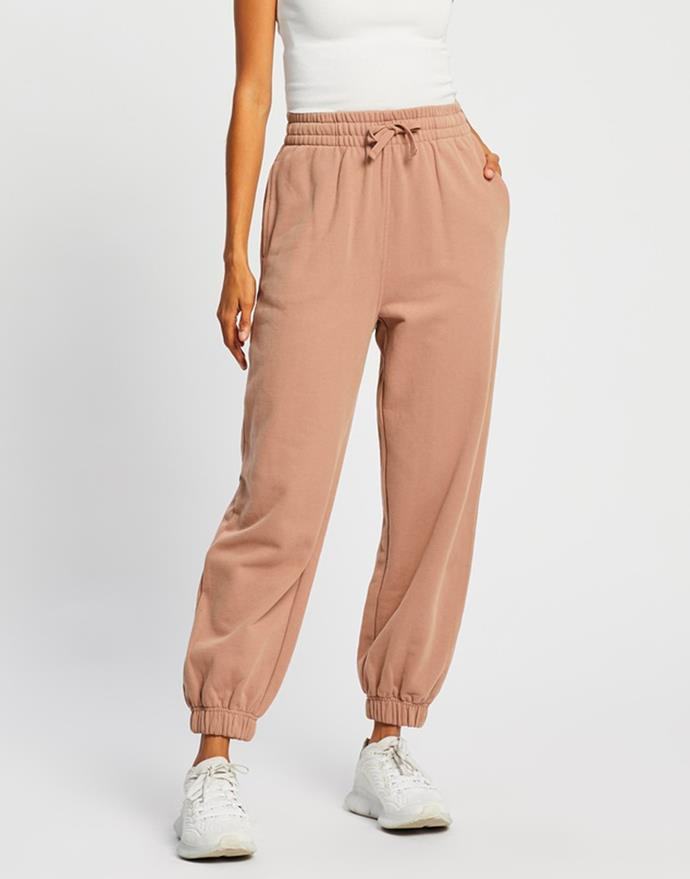 """Organic Cotton Sweat Pants in Mocha by AERE, $99 at [The Iconic](https://fave.co/3iJUdNE target=""""_blank"""" rel=""""nofollow"""")."""