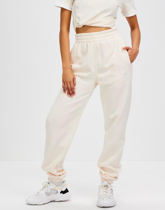 """Adicolor Essentials Fleece Joggers in Wonder White by ADIDAS Originals, $90 at [The Iconic](https://fave.co/3kO5gYC target=""""_blank"""" rel=""""nofollow"""")."""