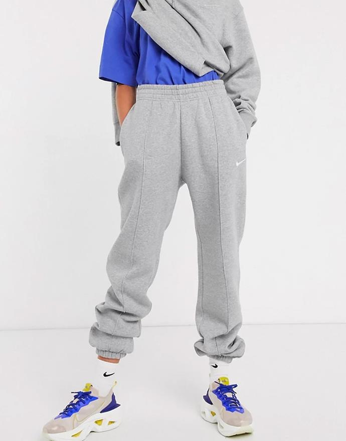 """Mini Swoosh Oversized trackies in grey marle by Nike, $73 at [ASOS](https://fave.co/3iHm9Bu target=""""_blank"""" rel=""""nofollow"""")."""