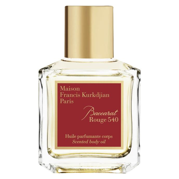 """**Best splurge**<br> *Maison Francis Kurkdjian Baccarat Rouge Body Oil, for $128 at [Mecca](https://www.mecca.com.au/maison-francis-kurkdjian/baccarat-rouge-body-oil/I-034333.html