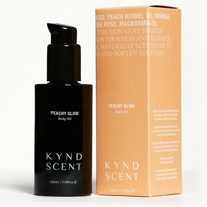 """**Best natural scent**<br> *KYND SCENT Peachy Glow Body Oil, for $49 at [Nourished Life](https://www.nourishedlife.com.au/body-oils/4190827/kynd-scent-peachy-glow-body-oil.html