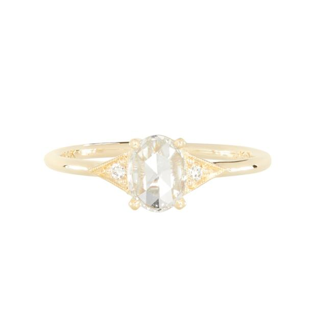 """Rose Cut Oval Deco Ring, AUD $6027 at [Catbird NYC](https://fave.co/37DqZux