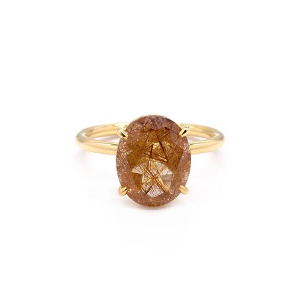 """Signature Solitaire Oval Rutilated Quartz, AUD $3150 at [Natalie Marie Jewellery](https://fave.co/2VIRyfH