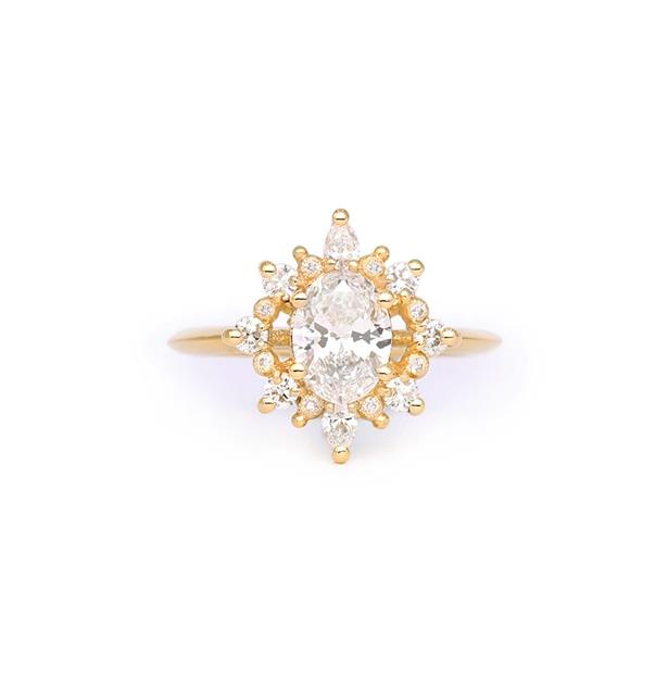 """Sunday Halo Diamond Ring, AUD price on request at [James And Irisa](https://fave.co/3lVTVGw