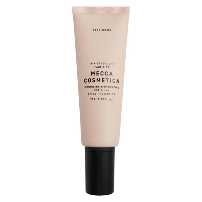 """**Mecca Cosmetica In A Good Light Face Tint with SPF 30, $42 from** [Mecca](https://www.mecca.com.au/mecca-cosmetica/in-a-good-light-face-tint-with-spf-30/V-022326.html#q=tinted%2Bsunscreen&start=1 target=""""_blank"""" rel=""""nofollow"""")<br> Made with hyaluronic acid and Vitamin E, this non-oily tint provides skin-like coverage and works to protect you from free radicals and harmful UV radiation."""