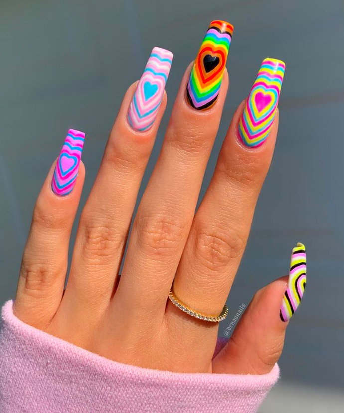 """In our opinion, however, the brighter and bolder the better. Bonus points for different colour combos per nail. <br></br> *Image via: [@denasnails](https://www.instagram.com/denasnails/ target=""""_blank"""" rel=""""nofollow"""")*"""