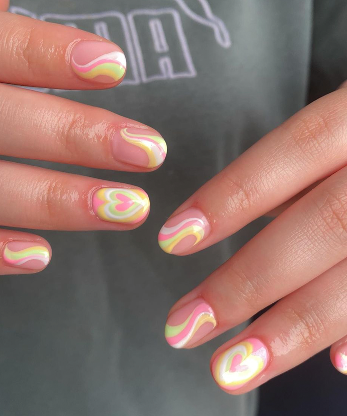 """Prefer pastels? No worries. Keep the design theme in tact but switch to softer sorbet shades to tone down the chaos. <br></br> *Image via: [@hels.gels](https://www.instagram.com/hels.gels/ target=""""_blank"""" rel=""""nofollow"""")*"""
