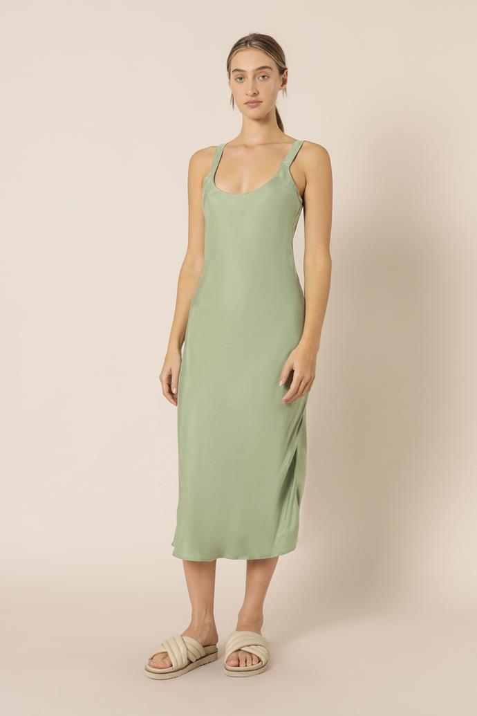 """Esme Cupro Slip Dress, $99.95 from [Nude Lucy](https://www.nudelucy.com.au/products/esme-cupro-slip-dress-apple target=""""_blank"""" rel=""""nofollow"""")"""