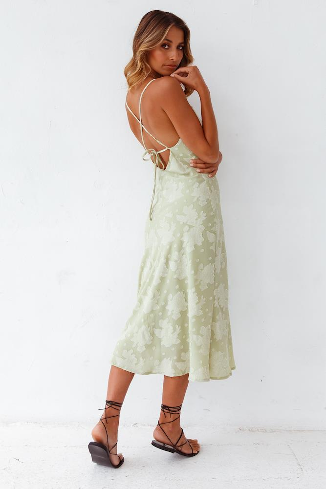 """Leora Midi Dress Green, $89 from [Fortunate One](https://www.fortunateone.com/leora-midi-dress-green.html target=""""_blank"""" rel=""""nofollow"""")"""
