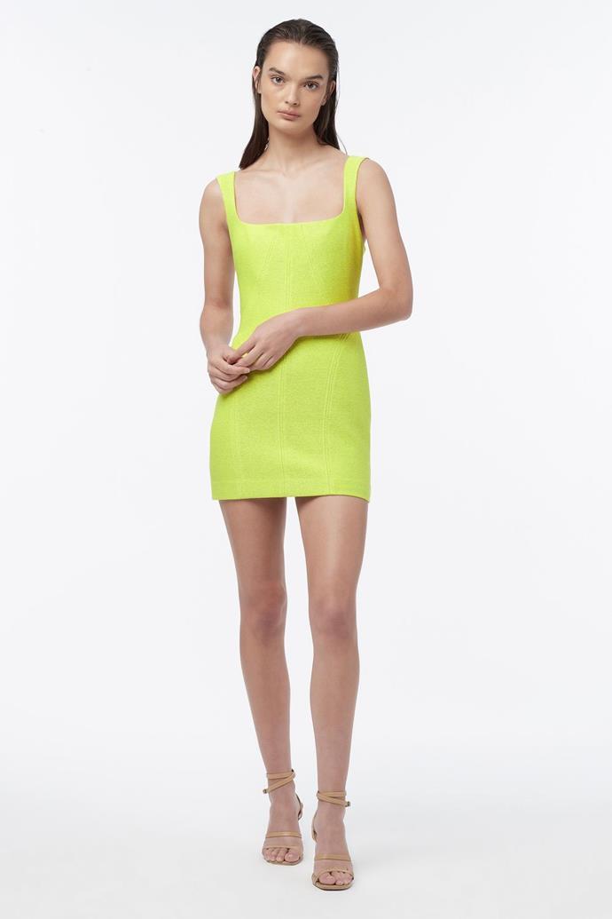 "Cyber Mini Dress, $249 from [Manning Cartell](https://www.manningcartell.com.au/products/cyber-mini-dress-lime-green target=""_blank"" rel=""nofollow"")"