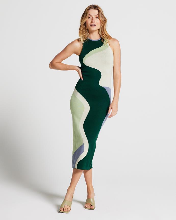 """Olivia Knit Midi Dress, $149.95 from [Apero](https://www.aperolabel.com/products/olivia-knit-midi-dress-green-beige-multi target=""""_blank"""" rel=""""nofollow"""")"""