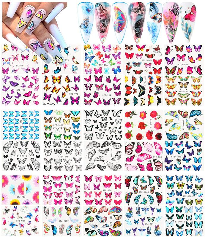 """**Butterfly Nail Stickers, $13.49 from** [Amazon](https://www.amazon.com.au/Fu-Li-Butterfly-Decorations-Accessories/dp/B088LTZ5DV/ref=sr_1_31?_encoding=UTF8&c=ts&dchild=1&keywords=Nail+Stickers+%26+Decals&qid=1629980664&s=beauty&sr=1-31&ts_id=5150535051 target=""""_blank"""" rel=""""nofollow"""") <br><br>  You're my butterfly, sugar, baby. The butterfly is a colourful motif loved by many (just ask Dua Lipa). So, if you're looking to flap your creative wings and flaunt some major Y2K energy, then these are the decals for you."""