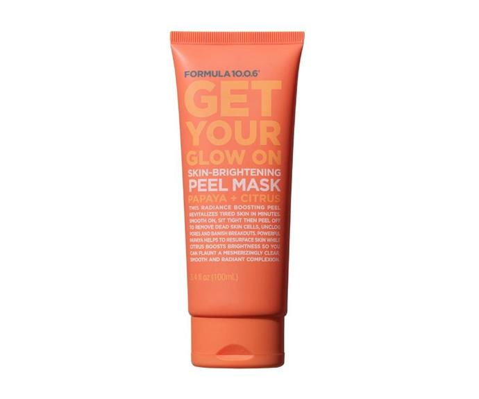 """**Get Your Glow On Skin Brightening Peel Mask by Formula 10.0.6, $13 at [Beauty Bay](https://go.skimresources.com?id=105419X1569491&xs=1&url=https%3A%2F%2Fwww.beautybay.com%2Fp%2Fformula-1006%2Fget-your-glow-on%2F target=""""_blank"""" rel=""""nofollow"""")**<br></br> A blend that hits skin with as much glow as you'd expect from a vitamin C-rich combo of papaya and citrus, it's all about resurfacing skin while also levelling up luminosity. The real kicker, though, is that it goes on clear, and comes off looking something akin to cling wrap. Fascinating."""
