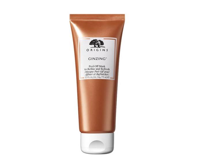 """**GinZing Peel-Off Mask by Origins, $39.50 at [Selfridges](https://go.skimresources.com?id=105419X1569491&xs=1&url=https%3A%2F%2Fwww.selfridges.com%2FAU%2Fen%2Fcat%2Forigins-ginzing-peel-off-mask-75ml_332-81004877-0T7L010000%2F target=""""_blank"""" rel=""""nofollow"""")**<br></br> It may look like a liquified bronze medal on the face, but this mask is the gold-standard of the glow game. Loaded with caffeine (an energy upper in any form) and Panax ginsin, a powerful and protective antoxidant, it'll grant your skin a whole new (and very luminous) lease on life."""