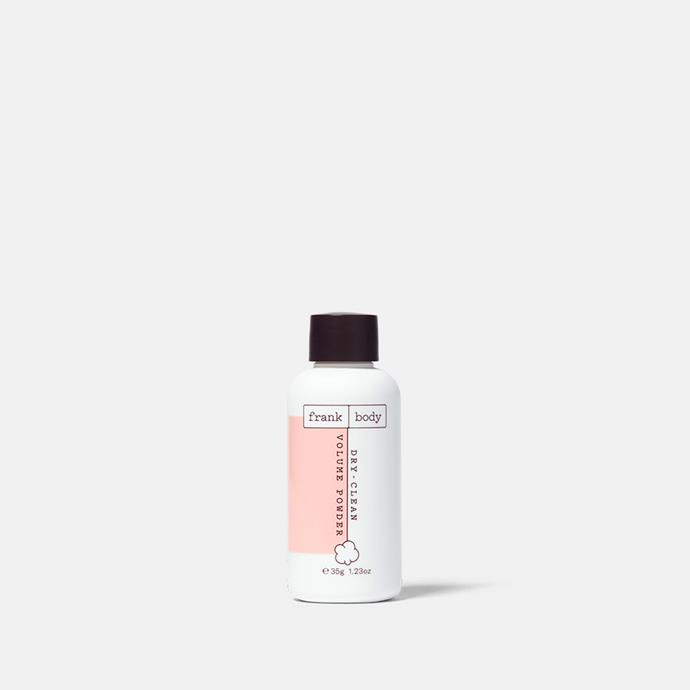 """Dry Clean Volume Powder, $19.95 from [Frank Body](https://www.frankbody.com/au/products/dry-clean-volume-powder/