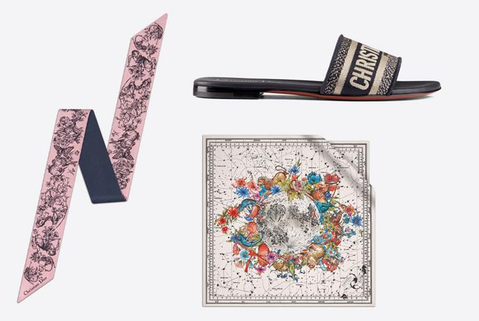 """*(Clockwise from top): DWAY Slide in Deep Blue Embroidered Cotton, $1090; Dior Zodiac Square Scarf in White Silk Twill $715; Toile De Jouy Zodiac Mitzah Scarf in Pink and Navy Blue Silk Twill, $410; all from [Dior.com](https://www.dior.com/en_au/womens-fashion/woman?utm_source=instagram&utm_medium=social_epr&utm_campaign=global_branding_women_elle_all_post&utm_term=story&utm_content=ecommlaunch target=""""_blank"""" rel=""""nofollow"""").*"""