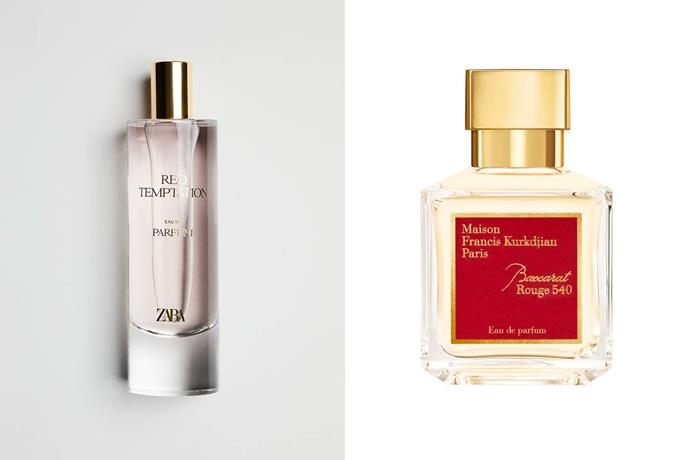"""**Zara Red Temptation EDP and Maison Francis Kurkdjian Baccarat Rouge 540** <br><br> According to TikTok, Zara's Red Temptation is a perfect dupe for the stunning, yet pricey, Baccarat Rouge 540 by Maison Francis Kurkdijian which typically costs around $368 for 70mL. Much like the latter, Zara's dupe features notes of orange, amber and Evernyl for an elegant, intense, and most importantly, long-lasting fragrance. <br><br> *Shop the perfume [here](https://www.zara.com/au/en/red-temptation-80-ml---2-71%C2%A0oz-p20110242.html?v1=115873820