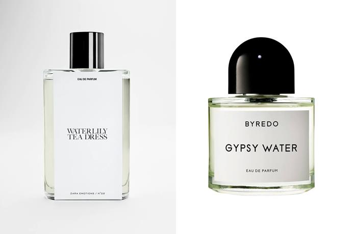 """**Zara Waterlily Tea Dress EDP and Byredo Gypsy Water** <br><br> An apparent dupe for cult-favourite Gypsy Water by Byredo, Zara's Waterlily Tea Dress smells more green rather than the floral expectations from its name. Built with notes of Vert De Bergamot, spearmint and musk, the Zara scent is significantly more affordable, compared to Byredo's offering which clocks in at around $320 for 100mL. <br><br> *Shop the perfume [here](https://www.zara.com/au/en/waterlily-tea-dress-90ml---3-04%C2%A0oz-p20110101.html