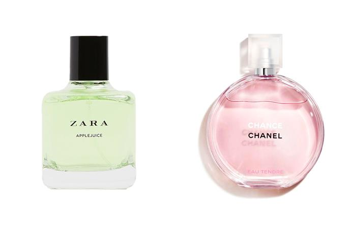 """**Zara Apple Juice EDP and Chanel Chance Eau Tendre** <br><br> As per the experts on TikTok, Zara's Apple Juice is said to be a perfect dupe for Chanel's Chance Eau Tendre perfume, thanks to their shared notes of grapefruit and jasmine of cedar. <br><br> *Shop the perfume [here](https://www.zara.com/au/en/applejuice-100ml-p20120021.html?v1=116667712