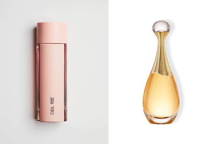 """**Zara Rose EDP and Dior J'Adore** <br><br> Both elegant and feminine fragrances, Zara's Rose is said to smell rather similar to Dior's J'Adore. Floral and warm, Zara's blackcurrent and peony notes are similar to that of J'Adore's fruity florals with its use of Damascus rose, ylang ylang, as well as both Grasse jasmine and Indian jasmine sambac to exude a seductive warmth. <br><br> *Shop the perfume [here](https://www.zara.com/au/en/zara-rose-edt-90-ml-p20110003.html