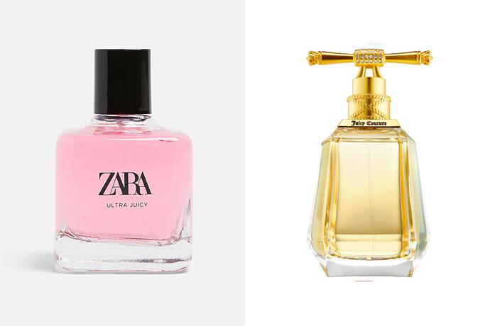 """**Zara Ultra Juicy EDP and Juicy Couture I Am Juicy** <br><br> Much like its name suggests, Zara's Ultra Juicy is a sweet and fruity scent. Its notes of pear, gardenia and creamy musk make it a suitable dupe for Juicy Couture's I Am Juicy's notes of raspberry, pomelo and passion fruit, paired with a bouquet of gardenia, heliotrope, sweet pea and rose de mal. <br><br> *Shop the perfume [here](https://www.zara.com/au/en/zara-ultra-juicy-100ml-p20120124.html?v1=115876014